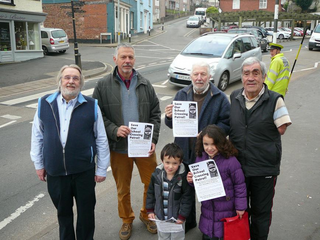 Local Lib Dems Nick Way, Bob Wright, Frank Letch and John Downes near the Haywards School crossing on the busy A377.