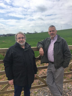 John Downes and Nick Way near the site of the proposed Cycle Path
