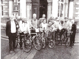 Nick Way with cyclists